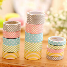 5Rolls Colorful Cute dot stripe washi Tape Adhesive Sticky Paper packaging tapes