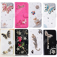 Flip Bling Wallet Stand Case Crystal Luxury Leather Cover For iPhone/Samsung