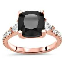 Noori 14k Rose Gold 3 ct Black Cushion Cut Diamond 3 Stone Trillion Cut