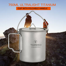TOMSHOO 750ML Titanium Pot Water Cup Outdoor Camping Mug Spoon with Lid US B1I2