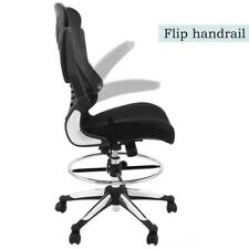 Ergonomic Adjustable Drafting Reception Office Stool-Chair with Armrests Black