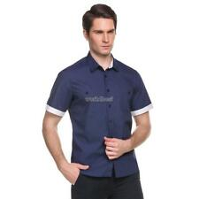 New Mens Casual Short Sleeve Turn-down Collar Contrast Color Button-Down WST