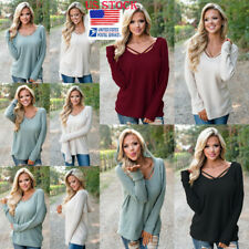 Womens Strappy Hooded Loose Tops Long Sleeve Solid Hoodie Pullover Blouse Shirt