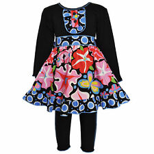 AnnLoren Girls Boutique Blooming Flower Dress & Legging Clothing 12/18 mo - 9/10