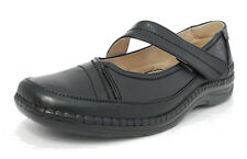 Womens Ladies X Wide EEE Fit Leather Lined Strap Shoes Black Size 3 4 5 6 7 8 9