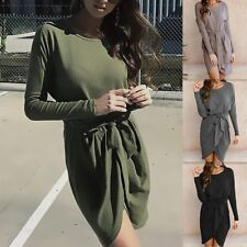 Irregular Tops Army Green Womens Long Sleeve Belt Slim Fit Blouse Shirts Dress
