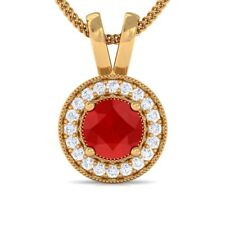 Red Ruby IJ SI Diamond Round Halo Gemstone Pendant Women 18K Solid Gold