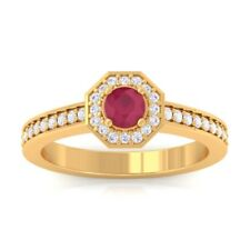 Red Ruby IJ SI Gemstone Diamond Engagement Ring Women 18K Solid Gold