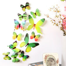 12pcs 3D Butterfly Wall Stickers Rainbow PVC Wallpaper Living Room Home Decor