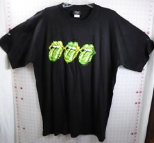 Rolling Stones T-shirt XXL Licks Down under 2003 Black 3 Green & Yellow Tongues