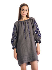 100% Linen Ukrainian Ethnic Embroidered Dress Vyshyvanka Dark Gray Embroidery