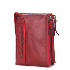 Bi-fold Leather Wallet For Women With Double Zipper Mini Card Holder Coin Purse