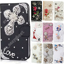 Bling Rhinestone Case PU Leather Crystal Diamond Flip Cover &Skins For Samsung