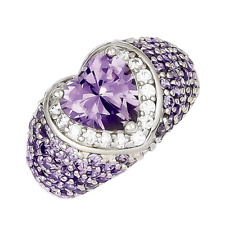925 Sterling Silver Purple and White Synthetic Cubic Zirconia Heart Faceted Ring