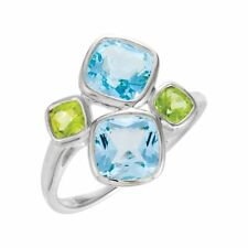 925 Sterling Silver Blue Topaz and Peridot 4 Bezel Cushion Ring - 3.96cttw