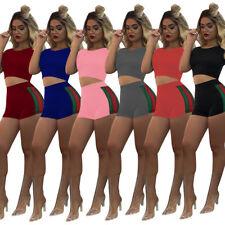 US Women Short Sleeve Crop Top Short Pants Body con Jumpsuit Casual 2 pcs Set