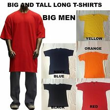 Big And Tall Men Heavy Weight Plain Short Sleeve T-shirts Crew Neck Solid Colors