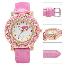 Kids Girls Children Quartz Hello Kitty Wrist Watch with Crystal Rhinestone Gift
