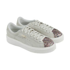 Puma Platform Crushed Gem Womens Beige Suede Lace Up Sneakers Shoes