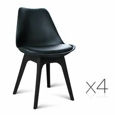 Set of 4 Replica Eames DSW PU Leather Chair Black