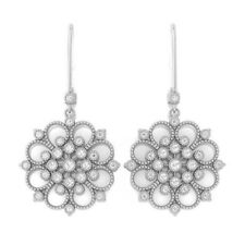0.74ct IJ SI Natural Diamonds Round Womens Dangle Earrings White Gold