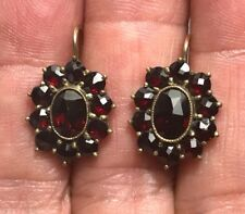 Estate Vintage Bohemian Garnet Oval Gilt Silver Leverback Pierced Earrings