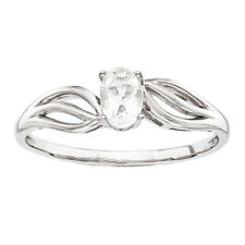 925 Sterling Silver White Topaz Oval Bypass Ring - 0.495cttw