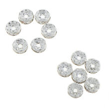 100Pcs 8mm Charm Silver Stainless Steel Rhinestone Beads Spacer DIY Findings