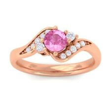 Pink Sapphire FG SI Natural Gemstone Diamond Engagement Ring 10K Solid Gold