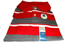 Boys Polo Style Collared Long Sleeve Shirt Red Grey White Stripes XXL 18 New