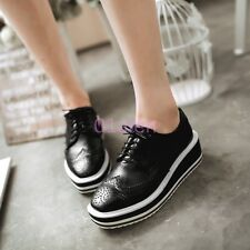 Womens Wing Tip Oxford Platform Wedge Creeper Lace Up Punk Brogues Shoes 34-43