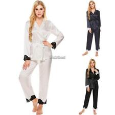 Womens Long Sleeve Lace Patchwork Slim Sleepwear V-Neck Nightwear Pajamas WST 01