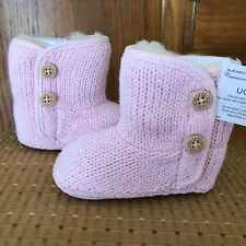 UGG Purl infant girls pink fur & wool lined knit boots 2/3 6-12M or 4/5 12-18M