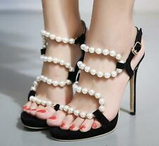 Womens Pearls Buckle Strappy Slingbacks High Heels Stilettos Sandals Party Shoes