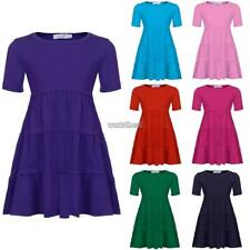 New Kids Girl O-Neck Short Sleeve Tiered  Pullover Dress WST 02