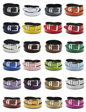 Men's Belt Reversible Bonded Leather Belts Silver-Tone Buckle Extra Large Sizes