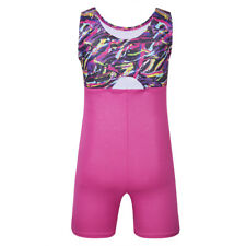 Girls Sleeveless Splice Ballet Dance Gymnastics Leotard Jumpsuit Kids Swim Wear