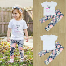 Summer Kids Baby Girls Outfits Clothes Letter T-shirt Tops+Floral Pants 2PCS Set