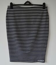 M&S Black & White Striped Pencil Skirt, Pull On Stretch Jersey 18 Plus Size BNWT