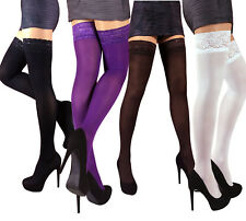 Size S - XL Opaque Stay up Thigh High Stockings Lace Silicone Top Made in EU