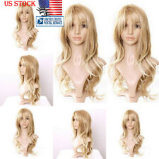 65cm Womens Natural Blonde Hair Wig Long Wavy Curly Hair Cosplay Party Full Wigs