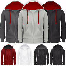 Mens Hoodie American Fleece Zip Up Jacket Sweatshirt Hooded Top New Plain Casual