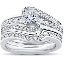 14K White Gold 1 ct TDW Diamond Engagement Ring Matching Wedding Band Set