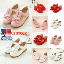 Toddler Kids Girls Rabbit Bow Flats Princess Wedding Sandals Slip On Shoes Size
