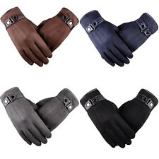 NEW MENS TOUCH SCREEN LEATHER GLOVES THERMAL LINED BLACK DRIVING WINTER uk stock