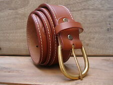 HMT HAND MADE REAL LEATHER MENS BELT 1.5 INCH FULL GRAIN BRASS BUCKLE TAN COLOUR
