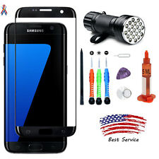 OEM Samsung Galaxy S7 Edge Replacement Black Front Screen Glass Lens Repair Kit