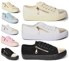 NEW WOMENS FLAT SKATER LACE UP ZIP TRAINERS SNEAKERS PLIMSOLLS PUMPS SHOES 3-8