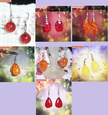 Water Drop African Red Resin Honey Amber Earrings - 18 Ct Gold Hooks