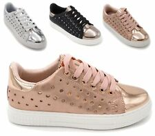 NEW LADIES FLAT LOW LACE UP METALLIC TRAINERS PUMPS SHOES WOMENS SNEAKERS SIZE